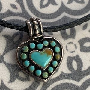 Turquoise Heart Pendant on Leather & Silver Cord